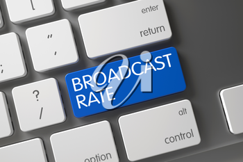 Broadcast Rate Concept: Modern Keyboard with Broadcast Rate, Selected Focus on Blue Enter Keypad. 3D Render.
