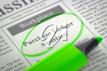 Purchase Ledger Assistant. Newspaper with the Small Ads of Job Search, Circled with a Green Highlighter. Blurred Image with Selective focus. Job Search Concept. 3D Rendering.