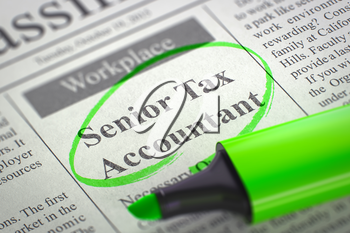 Senior Tax Accountant. Newspaper with the Jobs, Circled with a Green Marker. Blurred Image with Selective focus. Job Search Concept. 3D Illustration.