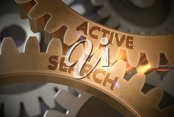 Active Search - Industrial Design. Active Search on the Mechanism of Golden Metallic Cog Gears with Glow Effect. 3D Rendering.