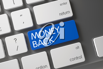 Money Back Concept White Keyboard with Money Back on Blue Enter Keypad Background, Selected Focus. 3D Render.
