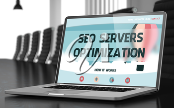 Closeup SEO Servers Optimization Concept on Landing Page of Laptop Display in Modern Conference Room. Toned Image with Selective Focus. 3D Render.