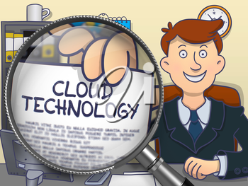 Officeman Showing Concept on Paper Cloud Technology. Closeup View through Magnifying Glass. Multicolor Doodle Illustration.