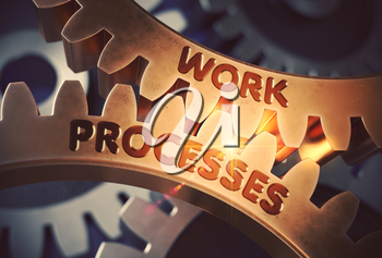 Work Processes on the Mechanism of Golden Cog Gears. Work Processes - Illustration with Lens Flare. 3D Rendering.
