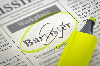 Barrister. Newspaper with the Small Ads of Job Search, Circled with a Yellow Highlighter. Blurred Image with Selective focus. Job Seeking Concept. 3D Rendering.
