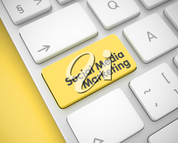 Service Concept with Modern Computer Enter Yellow Button on Keyboard: Social Media Marketing. Social Media Marketing Button on the Modern Keyboard. 3D.