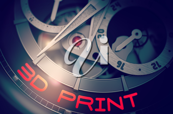 Vintage Wrist Watch Machinery Macro Detail with Inscription 3D Print. 3D Print on the Automatic Wrist Watch Detail, Chronograph Close View. Time and Business Concept with Lens Flare. 3D Rendering.