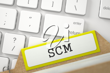 SCM written on Yellow File Card on Background of White PC Keypad. Closeup View. Blurred Illustration. 3D Rendering.