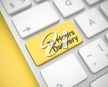 Slim Aluminum Keyboard with 72 Hours Delivery Yellow Key. Online Service Concept: 72 Hours Delivery on Modern Keyboard lying on the Yellow Background. 3D Illustration.