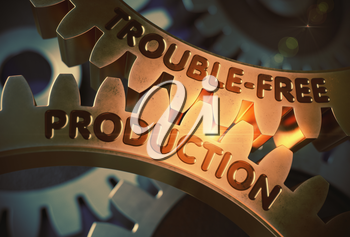 Trouble-Free Production - Illustration with Lens Flare. Golden Cogwheels with Trouble-Free Production Concept. 3D Rendering.