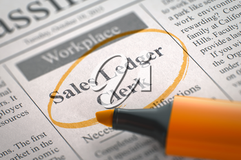 Sales Ledger Clerk. Newspaper with the Vacancy, Circled with a Orange Highlighter. Blurred Image. Selective focus. Job Search Concept. 3D.