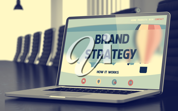 Closeup Brand Strategy Concept on Landing Page of Mobile Computer Display in Modern Meeting Room. Blurred Image with Selective focus. 3D Illustration.