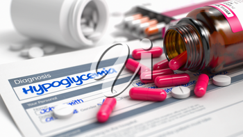 Hypoglycemia - Handwritten Diagnosis in the Anamnesis. Medicine Concept with Red Pills, Close View, Selective Focus. 3D Render.