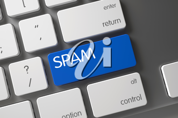 Spam Concept Slim Aluminum Keyboard with Spam on Blue Enter Keypad Background, Selected Focus. 3D Illustration.