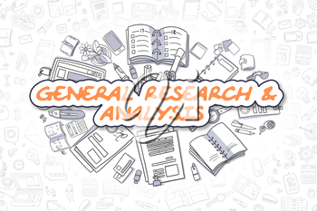 General Research And Analysis - Sketch Business Illustration. Orange Hand Drawn Text General Research And Analysis Surrounded by Stationery. Doodle Design Elements.