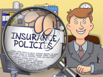 Insurance Policies. Concept on Paper in Business Man's Hand through Magnifying Glass. Multicolor Modern Line Illustration in Doodle Style.