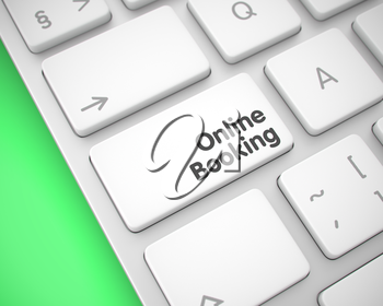 Service Concept with Slim Aluminum Enter White Key on the Keyboard: Online Booking. Conceptual Keyboard with Online Booking White Key. 3D Illustration.