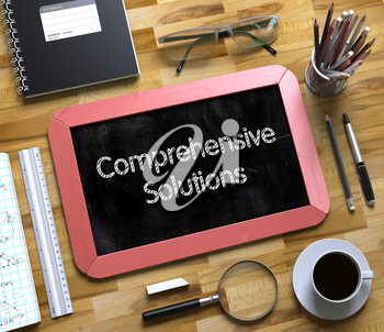 Comprehensive Solutions - Text on Small Chalkboard.Comprehensive Solutions Handwritten on Small Chalkboard. 3d Rendering.