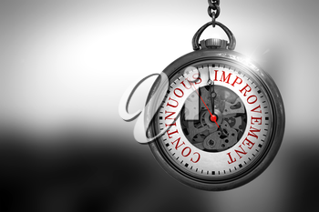 Continuous Improvement Close Up of Red Text on the Watch Face. Business Concept: Continuous Improvement on Vintage Pocket Watch Face with Close View of Watch Mechanism. Vintage Effect. 3D Rendering.