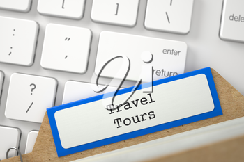 Travel Tours. Orange Folder Index Concept on Background of White Modern Computer Keyboard. Business Concept. Closeup View. Selective Focus. 3D Rendering.