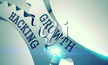 Text Growth Hacking on Metal Gears - Business Concept. Growth Hacking Metal Cog Gears - Interaction Concept. with Glow Effect and Lens Flare. 3D Illustration.