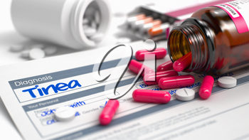 Tinea Phrase in Anamnesis. Close View of Medicine Concept. Tinea - Handwritten Diagnosis in the Medical History. Medical Concept with Red Pills, Close Up View, Selective Focus. 3D Illustration.