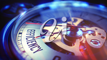 Watch Face with Efficiency Phrase on it. Business Concept with Lens Flare Effect. Efficiency. on Pocket Watch Face with Close Up View of Watch Mechanism. Time Concept. Vintage Effect. 3D.
