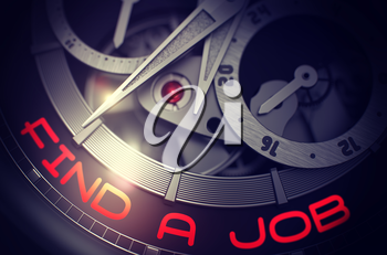 Automatic Men Wrist Watch with Find A Job on Face, Symbol of Time. Elegant Wristwatch with Find A Job Inscription on Face. Business and Work Concept with Glowing Light Effect. 3D Rendering.