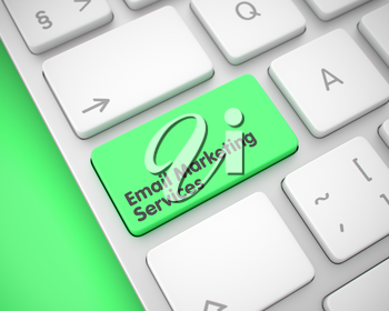 Close-Up View on the Laptop Keyboard - Email Marketing Services Green Key. Aluminum Keyboard Button Showing the Text Email Marketing Services. Message on Keyboard Green Button. 3D Render.