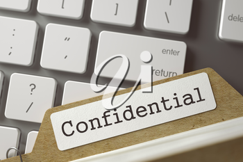 Confidential written on  Folder Register Lays on Modern Metallic Keyboard. Business Concept. Closeup View. Blurred Toned Image. 3D Rendering.