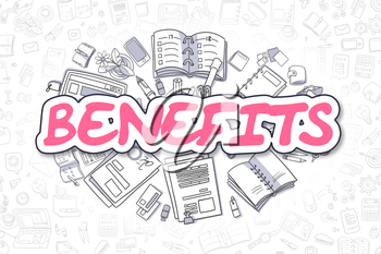 Benefits Doodle Illustration of Magenta Inscription and Stationery Surrounded by Cartoon Icons. Business Concept for Web Banners and Printed Materials.
