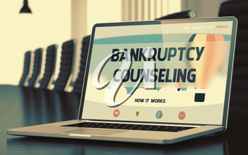 Bankruptcy Counseling. Closeup Landing Page on Mobile Computer Display. Modern Meeting Room Background. Toned Image with Selective Focus. 3D Render.