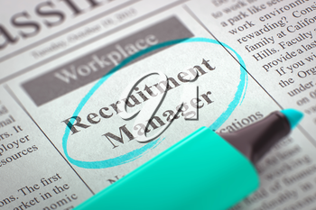 Recruitment Manager. Newspaper with the Job Vacancy, Circled with a Azure Highlighter. Blurred Image. Selective focus. Hiring Concept. 3D.