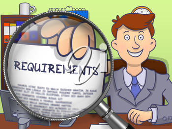 Requirements on Paper in Businessman's Hand to Illustrate a Business Concept. Closeup View through Magnifying Glass. Multicolor Doodle Illustration.