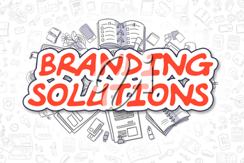 Branding Solutions - Hand Drawn Business Illustration with Business Doodles. Red Inscription - Branding Solutions - Doodle Business Concept.