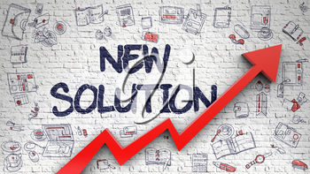 New Solution - Improvement Concept with Hand Drawn Icons Around on the Brick Wall Background. New Solution - Modern Line Style Illustration with Hand Drawn Elements.