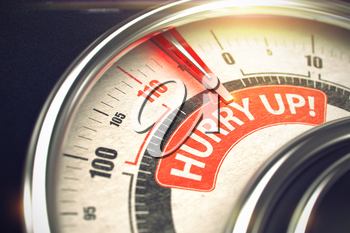 Hurry Up - Conceptual Scale with Red Inscription on It. Horizontal image. Shiny Metal Compass with Red Punchline Reach the Hurry Up. Illustration with Depth of Field Effect. 3D.