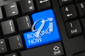 Booking Now Concept: Black Keyboard with Selected Focus on Blue Enter Key. 3D.