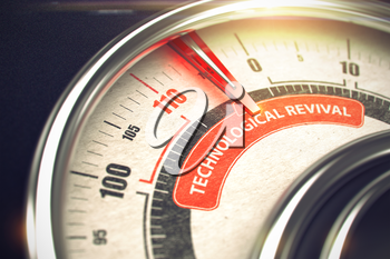 Conceptual Illustration of a Dial with Red Needle Pointing to Maximum of Technological Revival. Horizontal image. 3D Illustration.