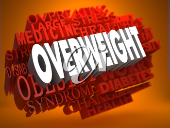 Overweight - the Word in White Color on Cloud of Red Words on Orange Background.