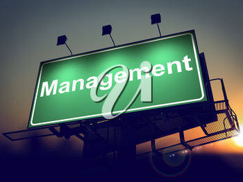 Management - Green Billboard on the Rising Sun Background.