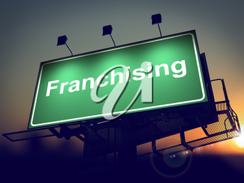 Franchising - Green Billboard on the Rising Sun Background. .