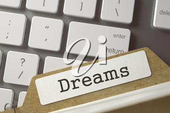 Dreams written on  Card Index on Background of Computer Keyboard. Business Concept. Closeup View. Selective Focus. Toned Illustration. 3D Rendering.