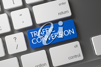 Traffic Conversion Concept: Computer Keyboard with Traffic Conversion, Selected Focus on Blue Enter Button. 3D.