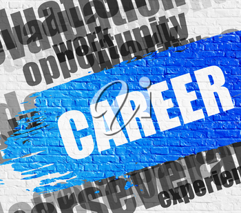 Education Service Concept: Career on White Wall Background with Word Cloud Around It. Career - on White Brickwall with Wordcloud Around. Modern Illustration.