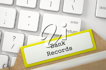 Bank Records. Yellow Folder Register on Background of Computer Keyboard. Archive Concept. Closeup View. Blurred Image. 3D Rendering.