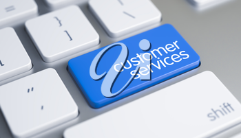 Business Concept with Blue Enter Button on the Computer Keyboard: Customer Services. Inscription on the Blue Keyboard Enter Keypad, for Customer Services Concept. 3D Illustration.