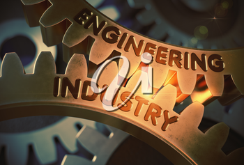 Engineering Industryon Golden Metallic Cogwheels. Golden Cog Gears with Engineering Industry Concept. 3D Rendering.