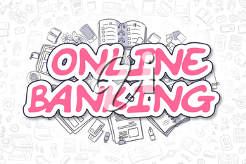 Online Banking - Hand Drawn Business Illustration with Business Doodles. Magenta Inscription - Online Banking - Doodle Business Concept.