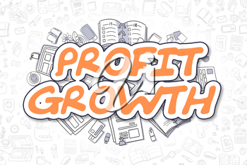Cartoon Illustration of Profit Growth, Surrounded by Stationery. Business Concept for Web Banners, Printed Materials.